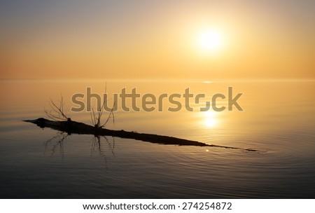 Beautiful ocean and snag. Sunrise in the sea - stock photo