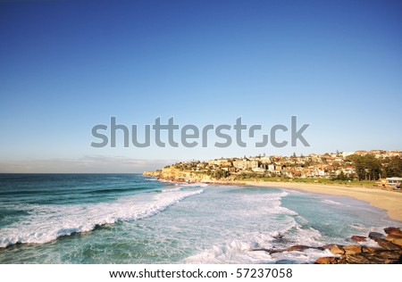 Beautiful ocean beach in Sydney Australia (near Bondi) - stock photo