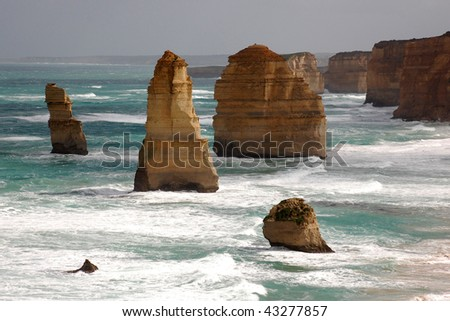 Beautiful ocean lookout on the Twelve Apostles the Great ocean road in Victoria - stock photo