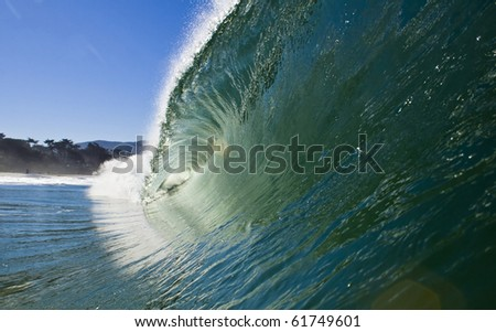 Beautiful ocean wave from a swimmers perspective. - stock photo
