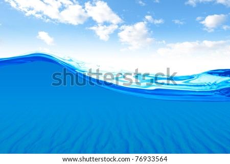 Beautiful ocean with view of sand underwater. concepts to use as backgrounds or workpieces