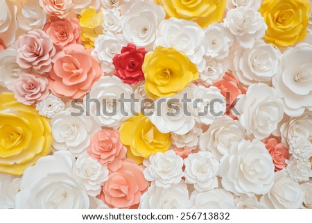 beautiful of artificial flowers background - stock photo