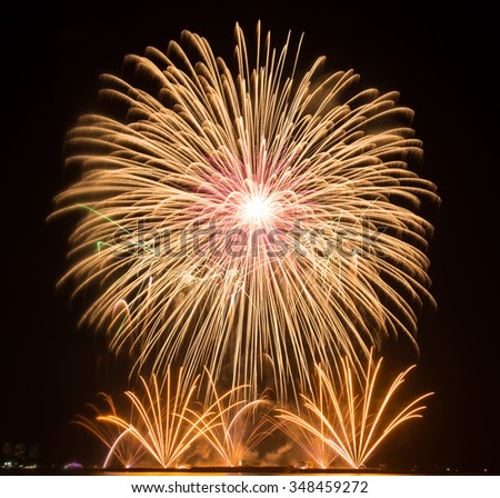 beautiful of exploding fireworks at night. Represents a celebration. - stock photo