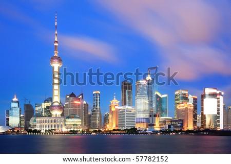 beautiful of shanghai night scene - stock photo