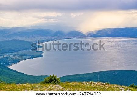 Beautiful Ohrid lake in the mountains, Macedonia - stock photo