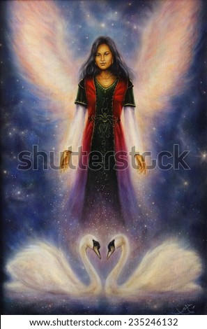 Beautiful oil painting of a angel woman with radiant wings and a pair of swans on canvas - stock photo
