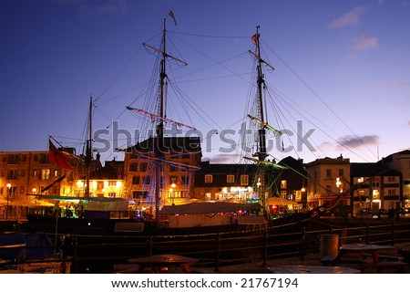 beautiful old battleship in the harbor, Plymouth, UK - stock photo