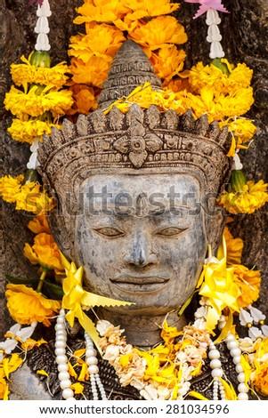 Beautiful Old Buddha in thailand - stock photo