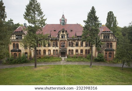 beautiful old building left in a ruin in germany, Beelitz - stock photo