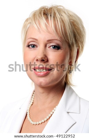 beautiful old business woman on white - stock photo