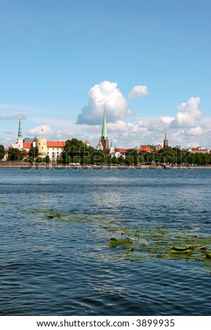 Beautiful old city view (Daugava riverbank, Riga, Latvia)
