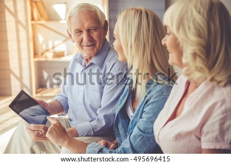 Old couple and girl