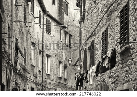 beautiful old facades at the tuscany - italy - stock photo