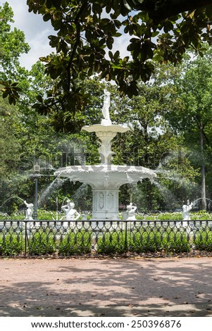 Beautiful old fountain in Forsyth Park in Savannah, Georgia - stock photo