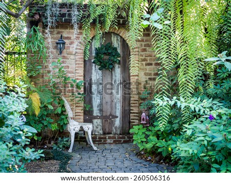 Beautiful old front doorway brick house - stock photo