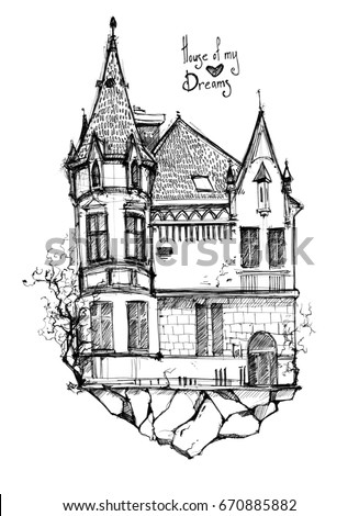 Beautiful Old House With Sloping Roofs And Spiers Gothic Style Dream