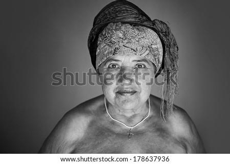 beautiful old lady portrait - stock photo