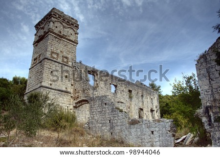 Beautiful old Manastir landscape, taken in Croatia.