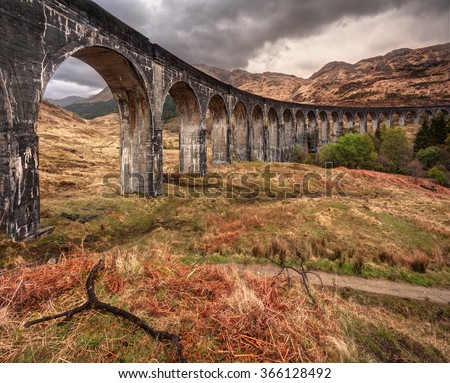 Beautiful old railway viaduct in glenfinnan, Scotland - stock photo