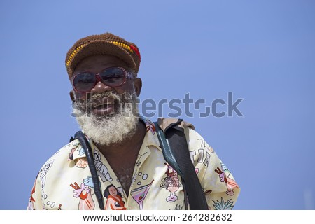 Beautiful old rasta taken on jamaican beach - stock photo