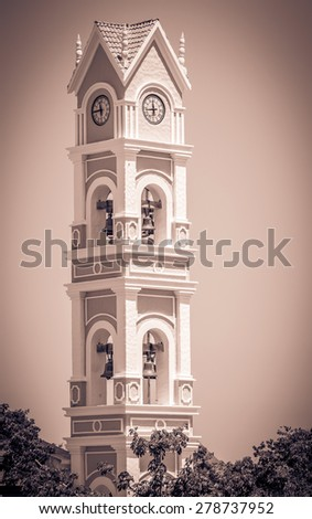 Beautiful old spanish  bell tower on Yucatan, Mexico - stock photo