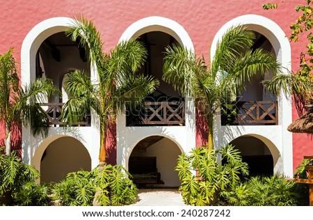 Beautiful old Spanish hacienda near Playa del Carmen, Mexico - stock photo
