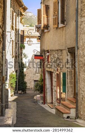 Beautiful old street Provence, France - stock photo