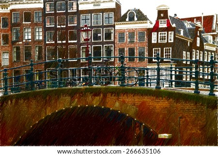 beautiful old streets of Amsterdam. cities in Europe on the shores of the North Sea