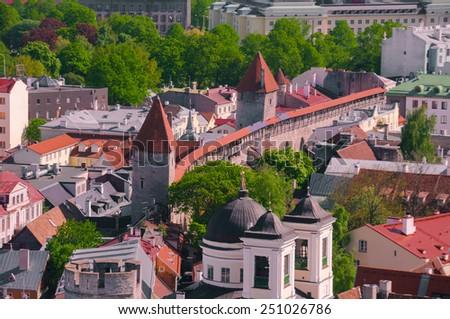 beautiful Old Town of Tallinn - stock photo