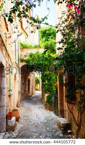 beautiful old town stone street of Provence at summer day, France, retro toned