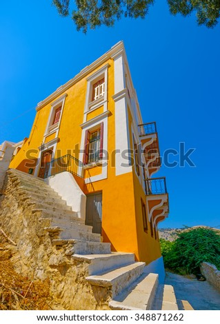 beautiful old traditional house in Symi island in Greece