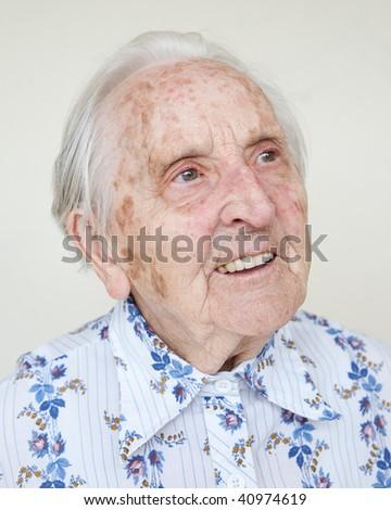beautiful old woman - stock photo