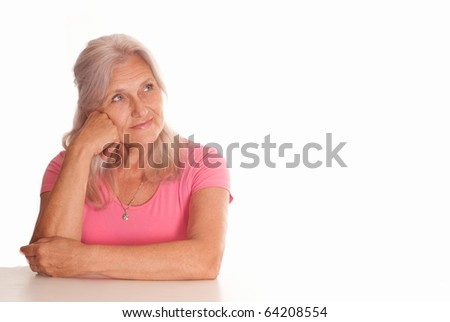 beautiful older woman on a white background - stock photo