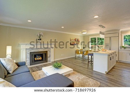 Beautiful Open Plan Second Floor Living Room With Dining Space And Kitchen