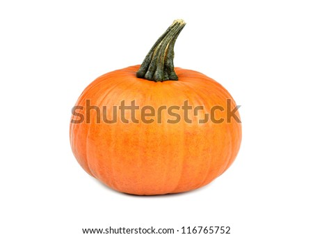 Beautiful orange pumpkin on white background