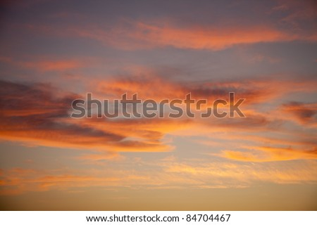 Beautiful orange sky at dawn - stock photo