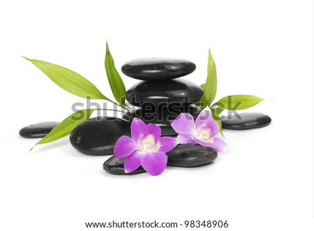 Beautiful orchid and bamboo leaf with stacked stones - stock photo