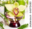 beautiful orchid flower and candles on white background - stock photo