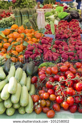 Beautiful organic vegetable and fruit on sunny market