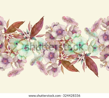 Beautiful original watercolor floral garland. Phlox. - stock photo