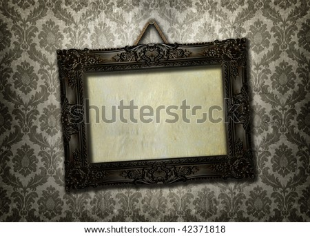 Beautiful ornate frame on a vintage wallpaper - stock photo