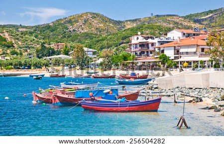 Beautiful Ouranoupolis harbour on Athos peninsula, Chalkidiki, Greece. - stock photo