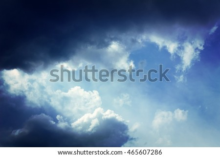 Beautiful overcast sky with clouds and sunlight