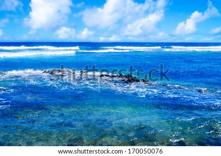 Beautiful Pacific Ocean's landscape in Hawaii, Kauai