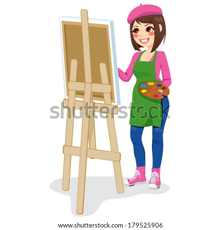 Beautiful painter artist woman holding palette and painting on canvas on easel - stock photo