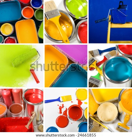 Beautiful painting collage - stock photo
