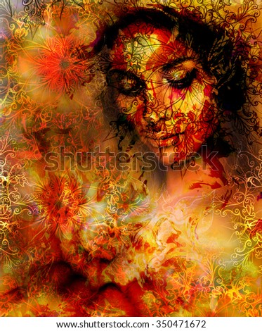 Beautiful Painting Goddess Woman with ornamental mandala and color abstract background  and Tree. Red, orange, yellow color. Brown, orange, yellow color