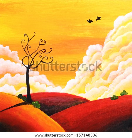 Beautiful painting of a landscape for love and romance theme