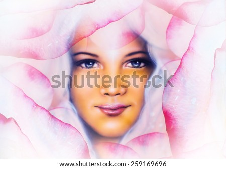 beautiful  painting of a young woman angelic face with blue eye , on abstract  rose flower background, pink colored - stock photo