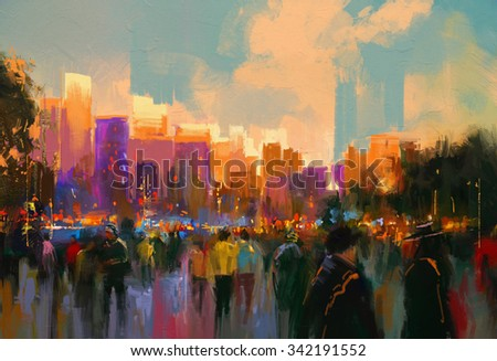 beautiful painting of people in a city park at sunset - stock photo
